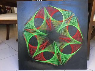 Cuadro Decorativo Hilorama String Art Verde Rojo 60x60 Cms