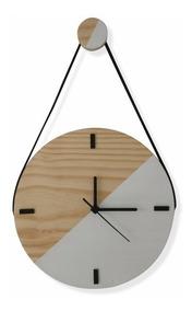 Relógio De Parede Escandinavo De Madeira Duo Branco Com Alça