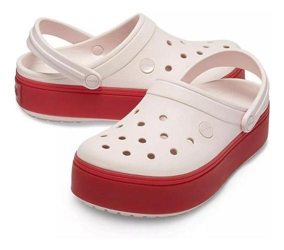 Crocs Crocband Clog Plataforma Rosa Base Rojo Pink