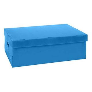 Caja Archivo Plástico Plana 802 Azul. Con Tapa.