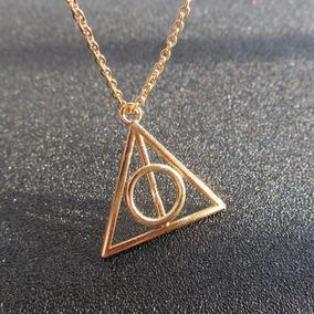 Lindo Colar Relíquias Da Morte Dourado Pingente Harry Potter