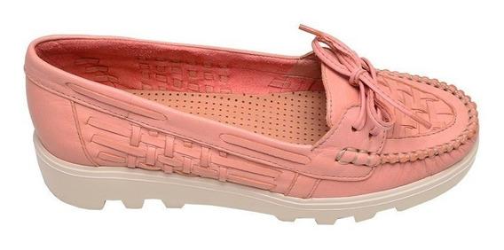 Sapato Feminino Mocassim Tratorado Luz Da Lua Coral