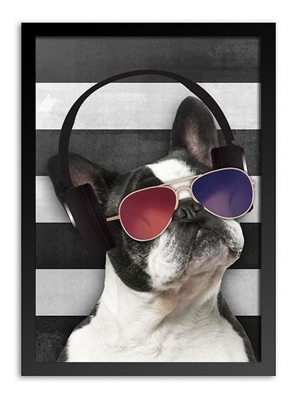 Quadro Decorativo Bulldog Com Óculos E Fone De Ouvido