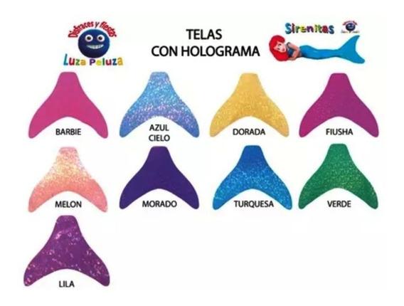 Cola De Sirena Con Bikini Telas Holograma Sin Monoaleta