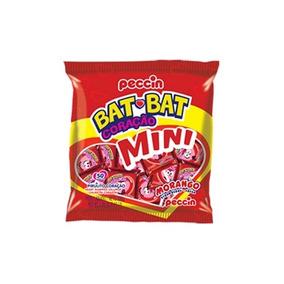 Kit C/ 8 Pirulito Peccin Bat Bat Coração Mini Morango