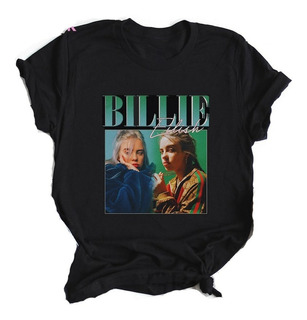 Polera Billie Eilish Algodón Negro Manga Corta Camiseta