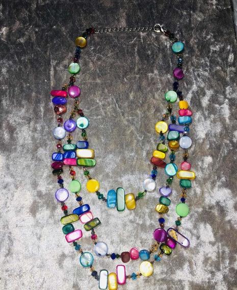 Colar Madrepérola Colorido Moda Feminina 2019