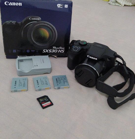 Câmera Canon Sx530hs 16mp Zoom 50x+cartão 64gb+3 Baterias