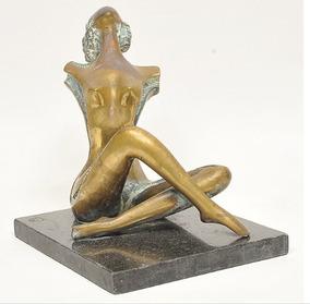 Linda Escultura Bronze Cinzelado Mulher Marmore Munddibr