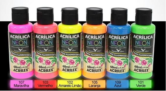 Tinta Neon Acrilex 60ml Cada Cor