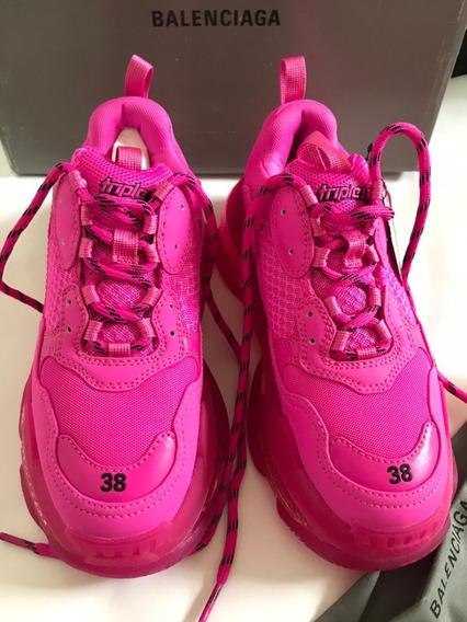 Balenciaga Tenis Triples Rosa Neon