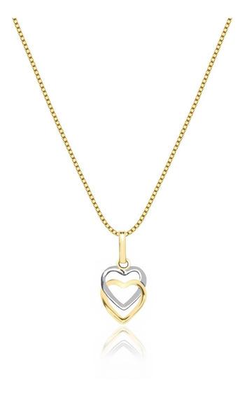 Cordão Feminino Veneziana Ouro 18k 50cm E Pingente Corações