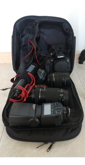 Kit Premium Canon T6i Rebel+sd32gb+flash+rodemic