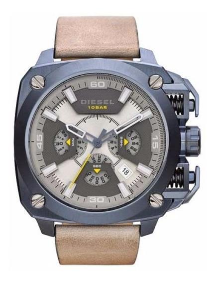 Relógio Diesel Masculino Dz7342/0an Azul Couro Cronografo