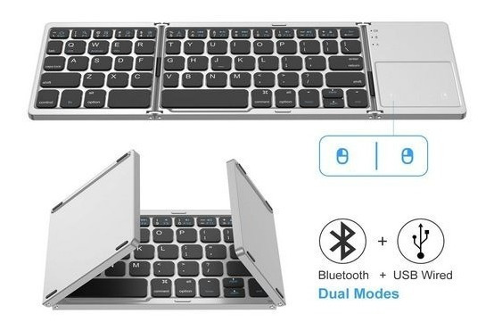 Bluetooth Teclado Dobrável Mini Touchpad Mouse Para Android