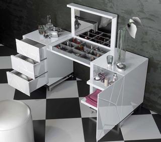 Mueble Tocador Maquillador Laqueado Dormitorio Espejo Modern