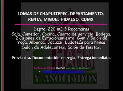 Lomas De Chapultepec, Departamento, Renta, Miguel Hidalgo, Cdmx