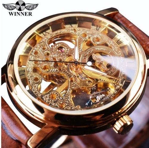 Relógio Winner Masc Mecânico Automático De Luxo Pulse Couro