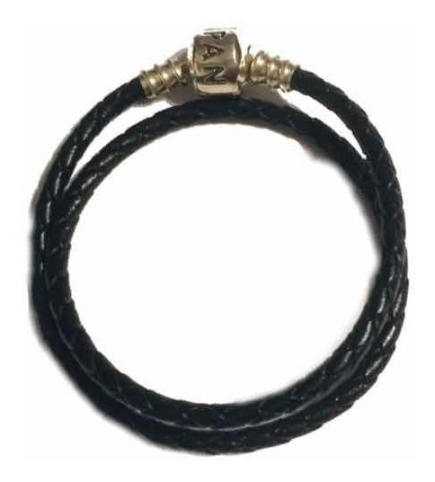 Brazalete Pandora Cuero Negro Trenzado Doble Broche Plata 30