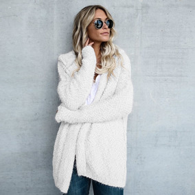 Fashion Women Fleece Hooded Cardigan Open Front Long Sleeve