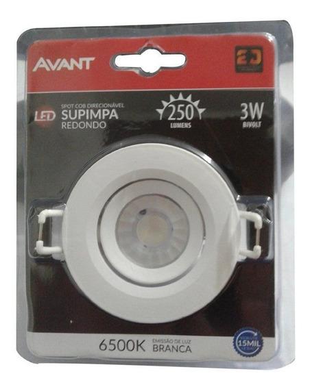 Luminaria Spot Super Led 3w Embutir Direcionável Avant