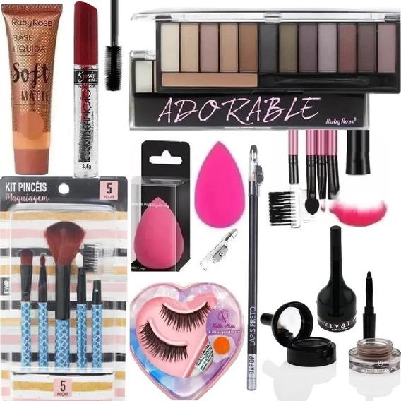 Kit Profissional De Maquiagem Ruby Rose Base Rimel Pincéis +