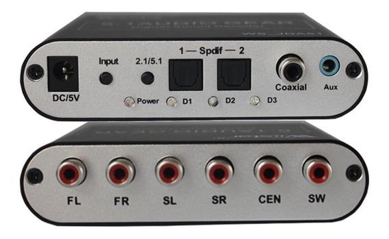 Conversor De Audio Digital Coaxil A Analog 5.1 +cable Optico