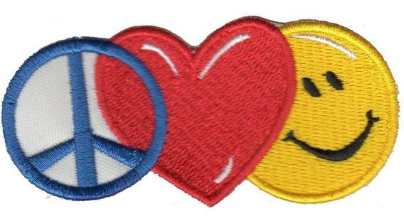 Patch Talysma P/ Jaqueta Calça Jeans - Paz Amor E Felicidade