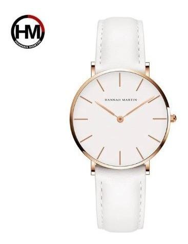 Relógio Luxo Feminino Hannah Martin Pulseira Couro Branco