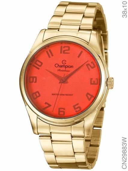 Relógio Champion Feminino Dourado Rainbow Cn29883w