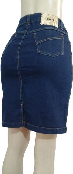 Saia Jeans Secretaria Coz Alto Lycra Tam 46 Ao 50
