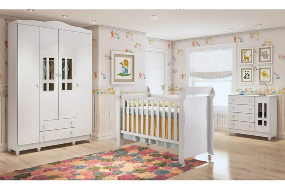 Quarto De Bebê Guarda Roupa 4 Portas, Cômoda Efwt