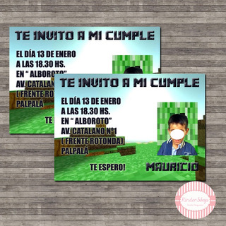 Tarjetas Invitaciones Cumpleanos Minecraft En Mercado Libre