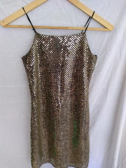Vestido Dorado Brilloso Corto Mirrors **