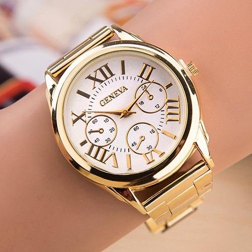 Kit 4 Relógios Unissex Geneva Fashion E Casual Frete Grátis
