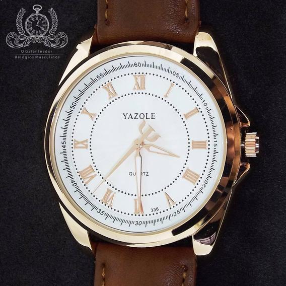 Relógio Masculino Yazole Dourado Original Classico