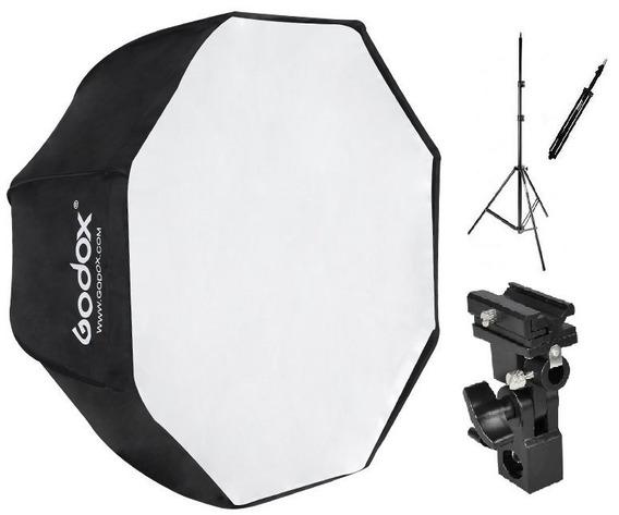 Kit Soft Octagonal 120cm + Tripé + Suporte Sombrinha