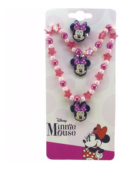 Jg Anel, Pulseira E Colar Minnie Disney - Dyf5974-mk1-d F1f