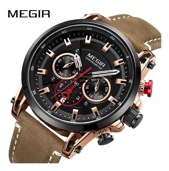 Relógio Masculino Megir Modelo 2085 30 Metros Dourado Rose