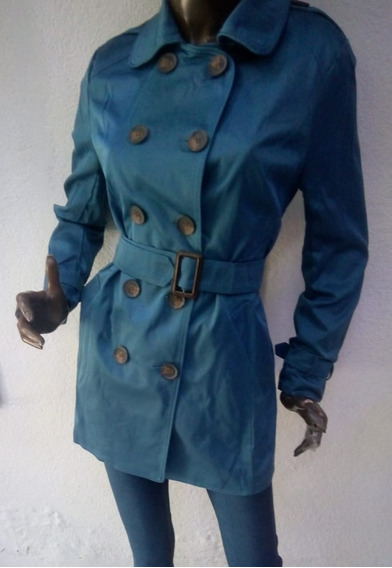 Abrigo Tipo Gabardina En Azul Petroleo Para Dama
