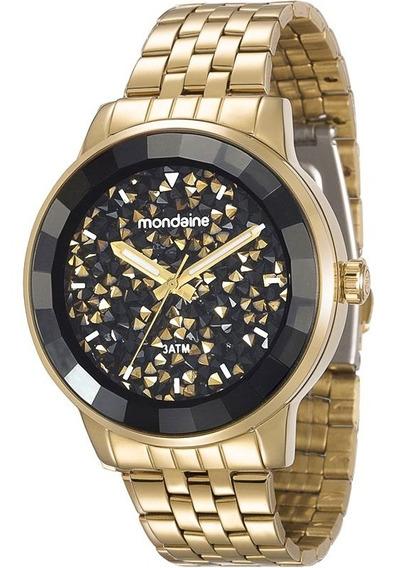 Relógio Mondaine Fem Dourado C/ Preto Fundo C/ Strass, 94713