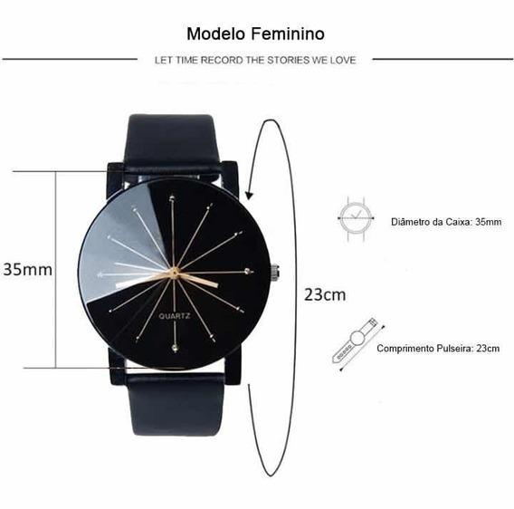 Relógio Quartz Feminino Pulseira Couro Preto Luxo