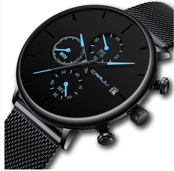Relógio Crrju 2268 Cronógrafo E Calendário Luxo Azul