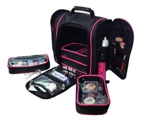 Bolsa Mochila Para Maquiagem Com 5 Estojos P/ Acessórios
