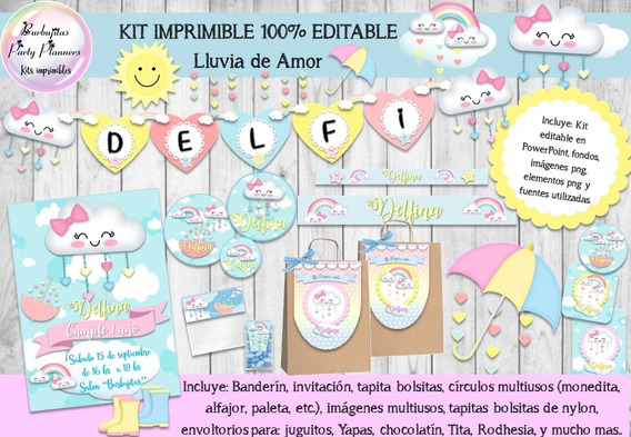 Kit Imprimible Candy Bar Lluvia De Amor Mod. 1 100% Editable