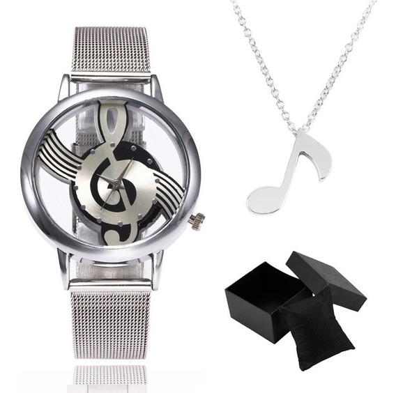 Kit Cordão E Pingente + Relógio Aço Nota Musical Música