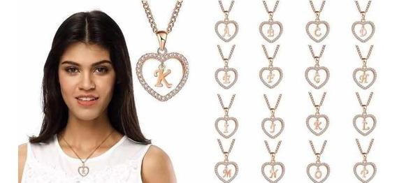 Collar Baño De Baño Oro 10k Cristales Inicial De Nombre