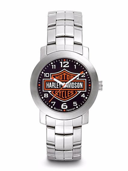 Reloj Harley Davidson Decals Acero Caratula Negra 76a019