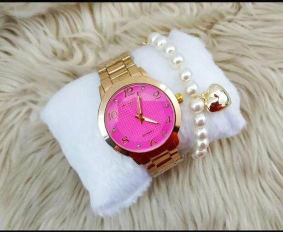 Relógio Feminino De Luxo + Pulseira