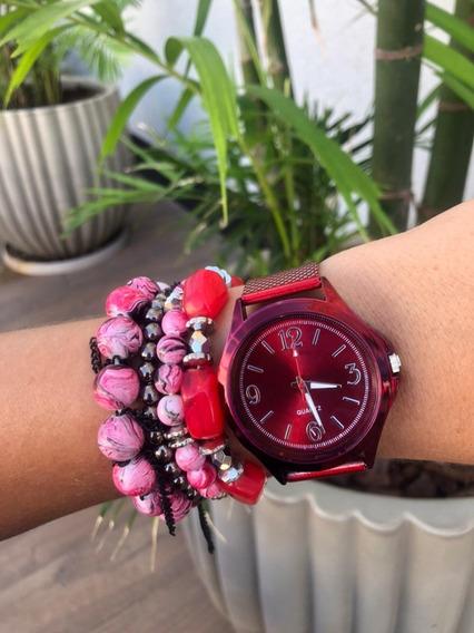 Relógio Feminino Vermelho + Pulseiras Com Caixinha Preta